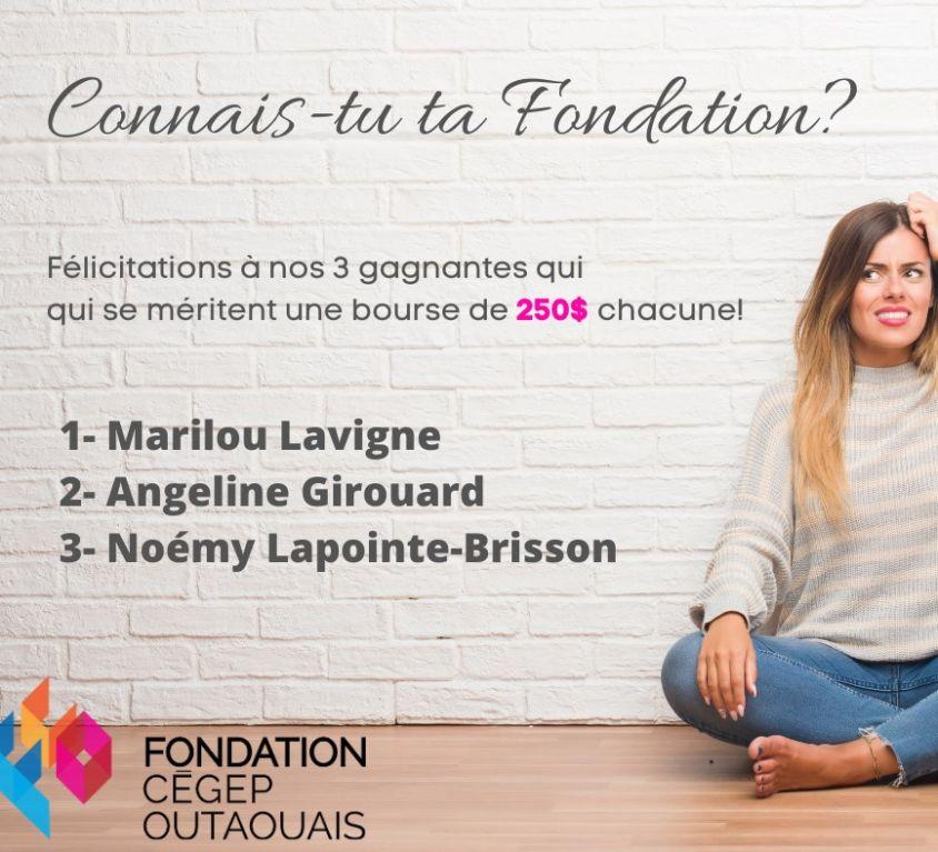 Gagnants- Concours Connais-tu ta Fondation